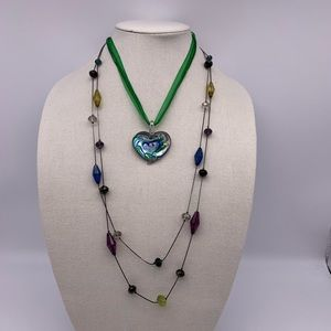 Jewelry - Lot of 2 green & blue tones necklaces